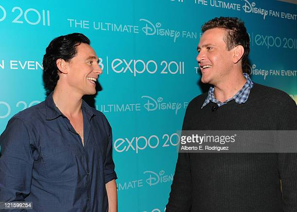 Actors Tom Hiddleston from Marvel's 'The Avengers' and Jason Segel from Walt Disney Pictures' 'The Muppets' attend Disney's D23 Expo held at the...