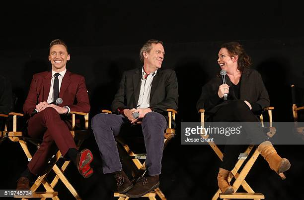 Actors Tom Hiddleston Hugh Laurie and Olivia Colman attend the ATAS/SAG Panel and Screening of AMC's The Night Manager at the Egyptian Theater on...