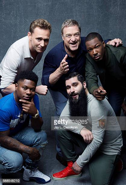Actors Tom Hiddleston John Goodman Corey Hawkins Jason Mitchell and director Jordan VogtRoberts of 'Kong Skull Island' are photographed for Los...