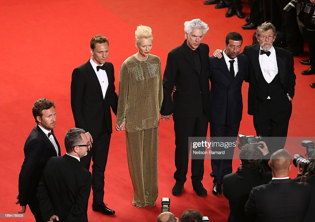 Actors Tom Hiddleston, Tilda Swinton, director Jim Jarmusch, Slimane Dazi and actor John Hurt attend the 'Only Lovers Left Alive' premiere during The 66th Annual Cannes Film Festival at the Palais des Festivals on May 25, 2013 in Cannes, France.