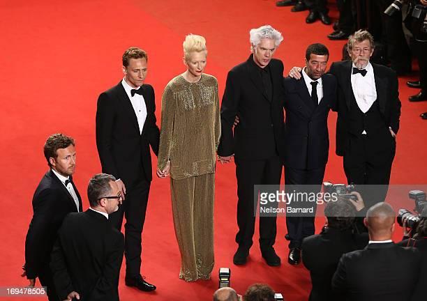 Actors Tom Hiddleston Tilda Swinton director Jim Jarmusch Slimane Dazi and actor John Hurt attend the 'Only Lovers Left Alive' premiere during The...