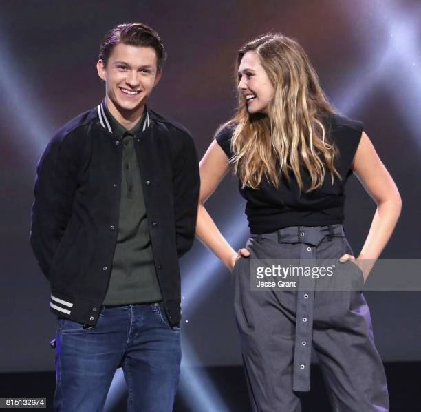 Actors Tom Holland and Elizabeth Olsen of AVENGERS INFINITY WAR took part today in the Walt Disney Studios live action presentation at Disney's D23...
