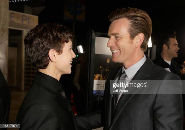 Actors Tom Holland and Ewan McGregor attend the Los Angeles Premiere of The Impossible presented by Grey Goose Vodka at ArcLight Cinemas on December...