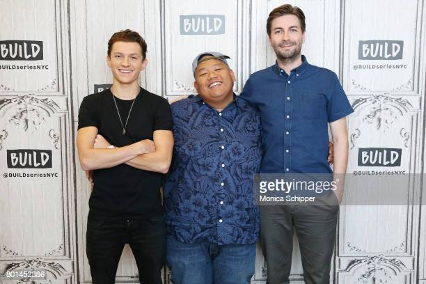 Actors Tom Holland and Jacob Batalon and director Jon Watts discuss SpiderMan Homecoming at Build Studio on June 26 2017 in New York City