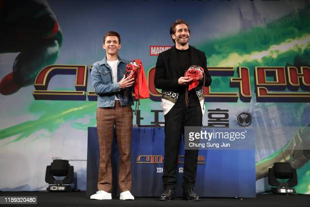 Actors Tom Holland and Jake Gyllenhaal attend the press conference for 'SpiderMan Far From Home' South Korea Premiere on July 01 2019 in Seoul South...