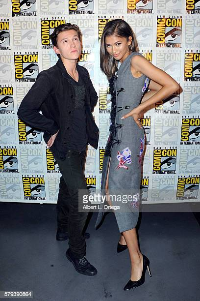 Actors Tom Holland and Zendaya attend the Marvel Studios presentation during Comic-Con International 2016 at San Diego Convention Center on July 23,...