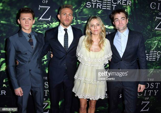 Actors Tom Holland Charlie Hunnam Sienna Miller and Robert Pattinson arrives at the Premiere Of Amazon Studios' 'The Lost City Of Z' at ArcLight...