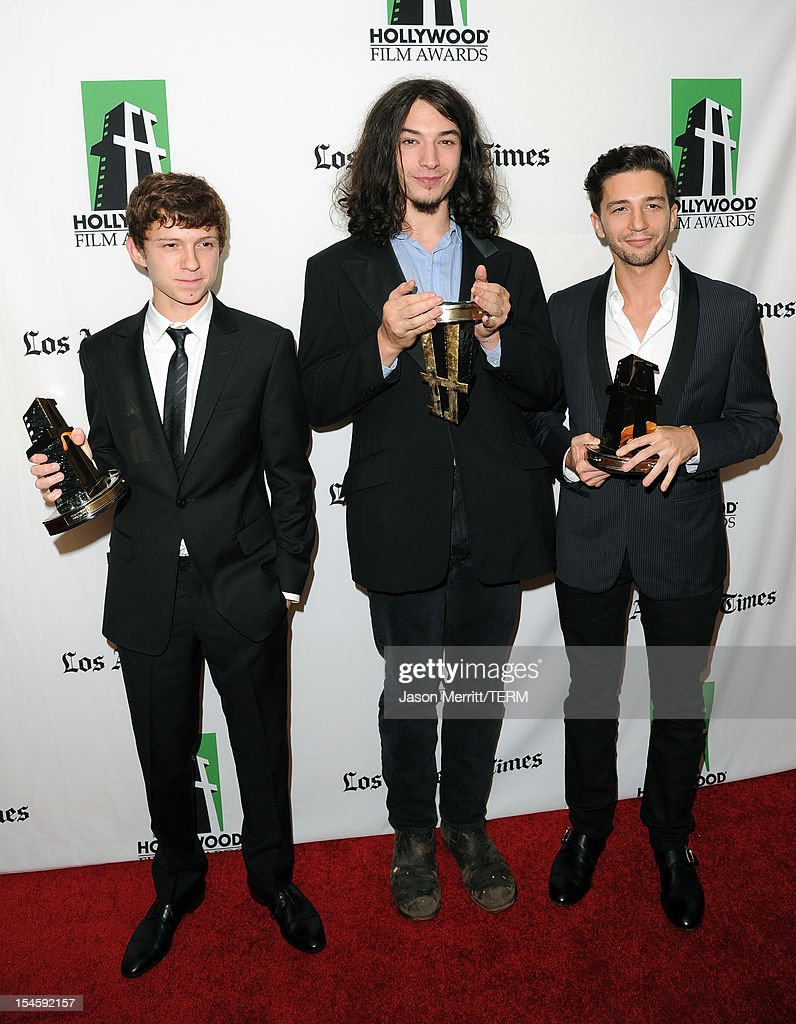 Actors Tom Holland, Ezra Miller and John Magaro pose with their Hollywood Spotlight Awards during the 16th Annual Hollywood Film Awards Gala presented by The Los Angeles Times held at The Beverly Hilton Hotel on October 22, 2012 in Beverly Hills, California.