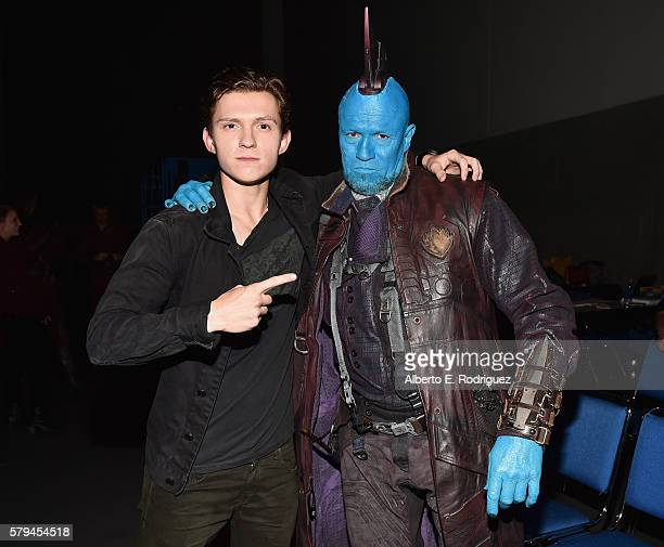 "Actors Tom Holland from Marvel Studios' 'SpiderMan Homecoming"" and Yondu from Marvel Studios' 'Guardians Of The Galaxy Vol 2' attend the San Diego..."