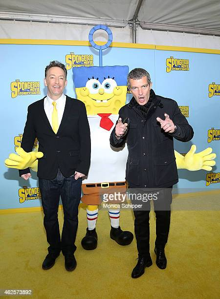 Actors Tom Kenny and Antonio Banderas attend 'The Spongebob Movie Sponge Out Of Water' World Premiere at AMC Lincoln Square Theater on January 31...