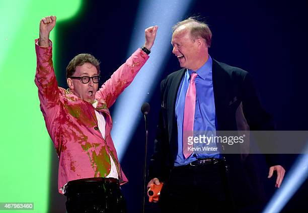 Actors Tom Kenny and Bill Fagerbakke accept award for Favorite Cartoon for SpongeBob SquarePants onstage during Nickelodeon's 28th Annual Kids'...