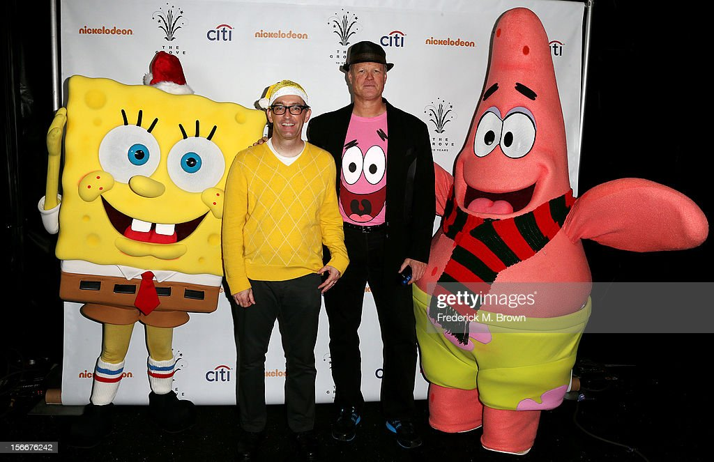 Actors Tom Kenny (L) and Bill Fagerbakke attend Nickelodeon's Spongebob Holiday Extravapants At The Grove on November 18, 2012 in Los Angeles, California.