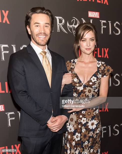 Actors Tom Pelphrey and Jessica Stroup attend Marvel's 'Iron Fist' New York Screening at AMC Empire 25 on March 15 2017 in New York City