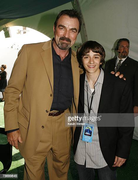 Actors Tom Selleck and Daniel Hensen pose at the after party for the premiere of Disney's Meet The Robinsons at the El Capitan Theater on March 25...