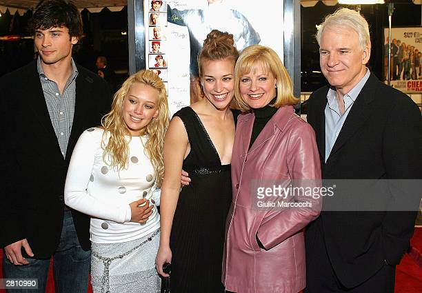 Actors Tom Welling, Hilary Duff, Piper Perabo, Bonnie Hunt and Steve Martin attend the Cheaper By The Dozen Premiere December 14, 2003 in Hollywood,...