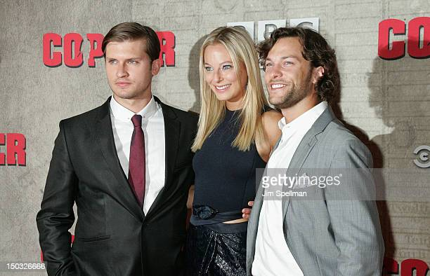 Actors Tom WestonJones Anastasia Griffith and Kyle Schmid attends the 'Copper' premiere at The Museum of Modern Art on August 15 2012 in New York City