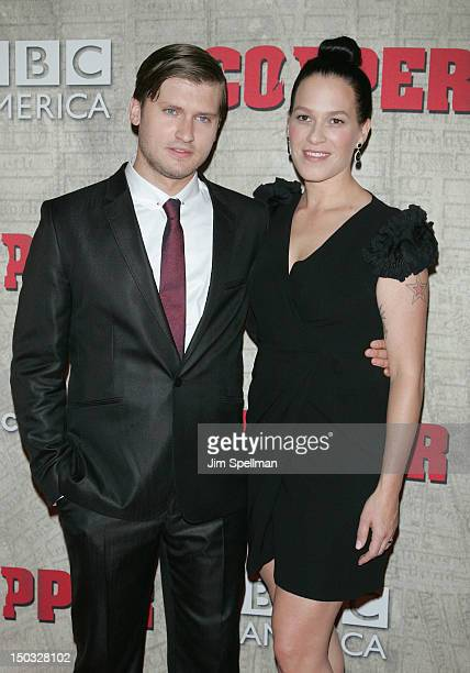 "Actors Tom Weston-Jones and Franka Potente attend the ""Copper"" premiere at The Museum of Modern Art on August 15, 2012 in New York City."