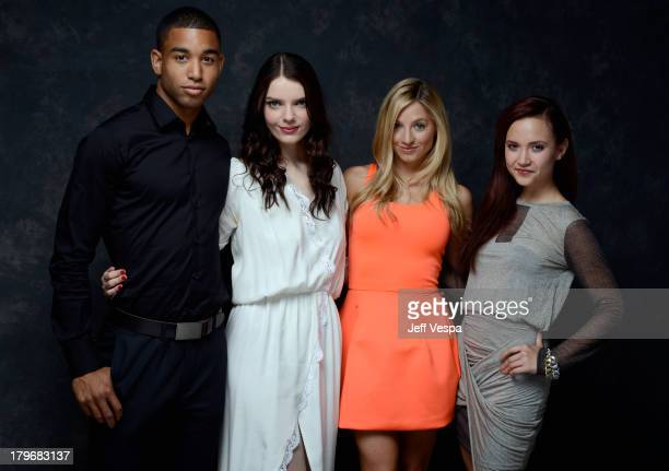 Actors Tom Williamson Sianoa SmitMcPhee Brooke Butler and Amanda Grace Cooper of 'All Cheerleaders Die' pose at the Guess Portrait Studio during 2013...