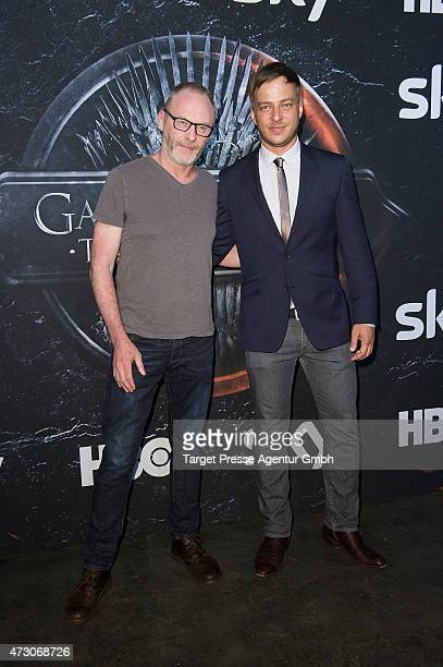 Actors Tom Wlaschiha and Liam Cunningham attend the pre opening party of the exhibition 'Game of Thrones Die Ausstellung' on May 12 2015 in Berlin...