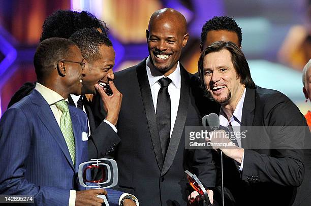 Actors Tommy Davidson Marlon Wayans Keenen Ivory Wayans and Jim Carrey of In Living Color speak onstage at the 10th Annual TV Land Awards at the...