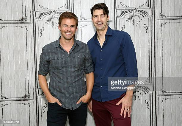 Actors Tommy Dewey and Tug Coker attend The Build Series Presents Tug Tanner And Tommy Arondall Discussing The Series 'Tug And Tommy' at AOL HQ on...