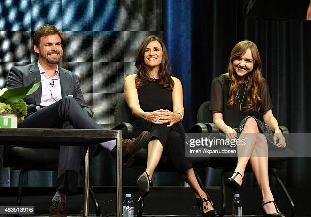 Actors Tommy Dewey Michaela Watkins and Tara Lynne Barr speak onstage during the 'Casual' panel at the Hulu 2015 Summer TCA Presentation at The...