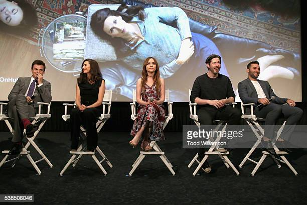 Actors Tommy Dewey Michaela Watkins Tara Lynne Barr executive producers Jason Reitman and Zander Lehmann speak onstage during the 'Casual' Season 2...