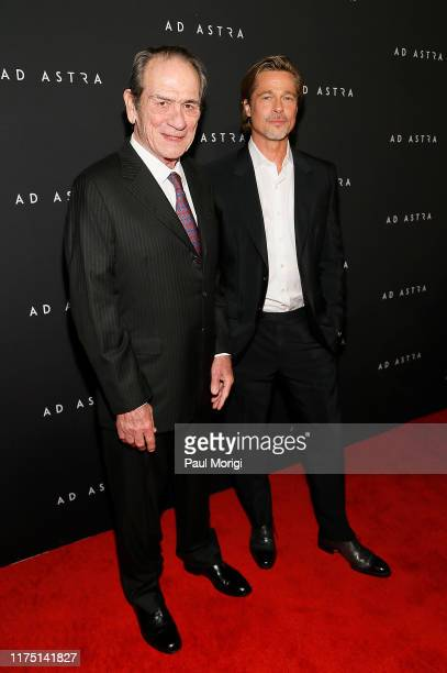 Actors Tommy Lee Jones and Brad Pitt attend the Ad Astra Washington DC screening at National Geographic Museum's Grosvenor Auditorium on September 16...