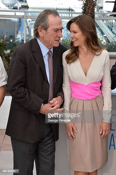Actors Tommy Lee Jones and Hilary Swank attend The Homesman photocall at the 67th Annual Cannes Film Festival on May 18 2014 in Cannes France