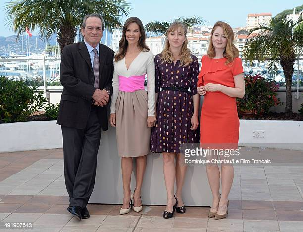 Actors Tommy Lee Jones Hilary Swank Sonja Richter and Miranda Otto attend The Homesman photocall at the 67th Annual Cannes Film Festival on May 18...