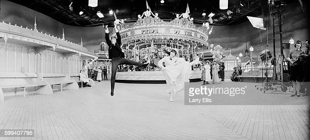 Actors Tommy Steele and Julia Foster filming the British musical 'Half a Sixpence', UK, 21st October 1967.