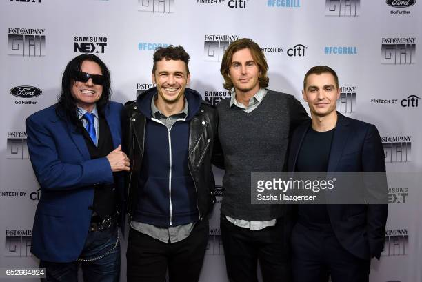 Actors Tommy Wiseau James Franco Greg Sestero and Dave Franco attend Fast Company's prereception for a screening of The Disaster Artist at the FC...
