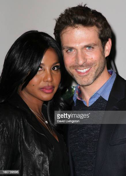 Actors Toni Braxton and David Julian Hirsh attend the premiere screening of Twist of Faith at the Stephen S Wise Temple on February 4 2013 in Los...
