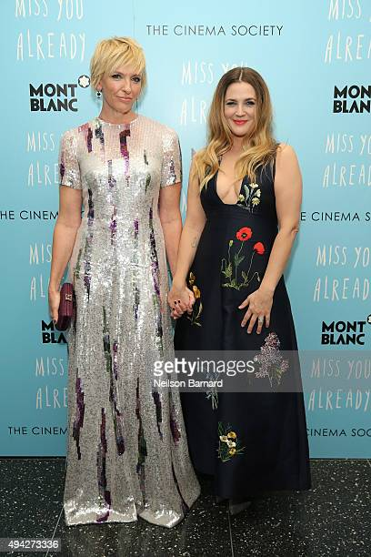 Actors Toni Collette and Drew Barrymore attend the Montblanc The Cinema Society screening of Roadside Attractions Lionsgate's 'Miss You Already' at...