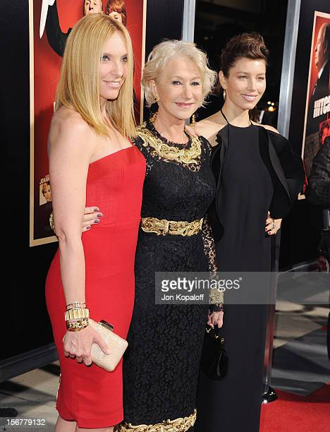 Actors Toni Collette Helen Mirren and Jessica Biel arrive at the Los Angeles Premiere Hitchcock at AMPAS Samuel Goldwyn Theater on November 20 2012...