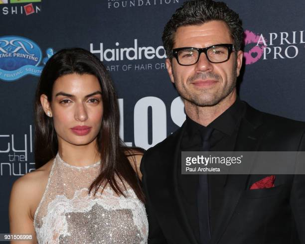 Actors Tonia Sotiropoulou and Christos Vasilopoulos attend the Domingo Zapata Fashion Show at the Los Angeles Fashion Week 10th season anniversary at...