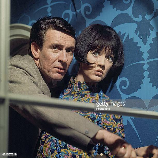 1968 Actors Tony Britton and Amanda Barrie pictured in a scene from the television drama 'Horizontal Hold' in 1968