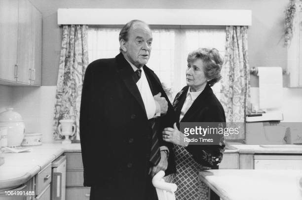 Actors Tony Britton and Dinah Sheridan in a scene from episode series 6 episode 6 of the television sitcom 'Don't Wait Up' March 4th 1990
