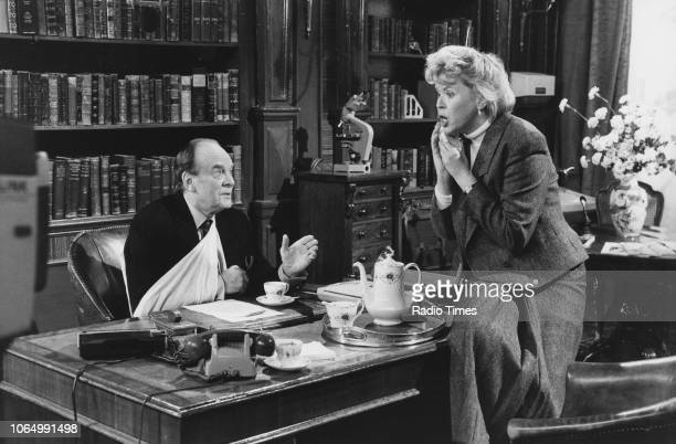 Actors Tony Britton and Jane Booker in a scene from episode series 6 episode 6 of the television sitcom 'Don't Wait Up' March 4th 1990