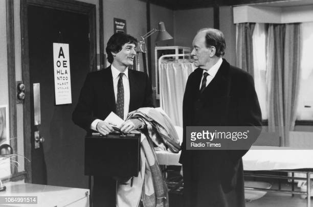 Actors Tony Britton and Nigel Havers in a scene from series 6 episode 1 of the television sitcom 'Don't Wait Up' January 28th 1990