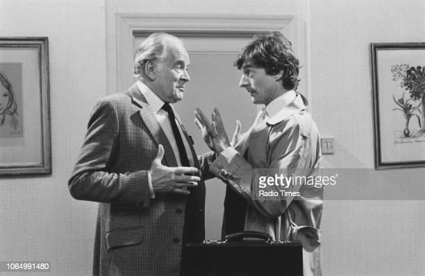 Actors Tony Britton and Nigel Havers in a scene from the television sitcom 'Don't Wait Up' March 6th 1988