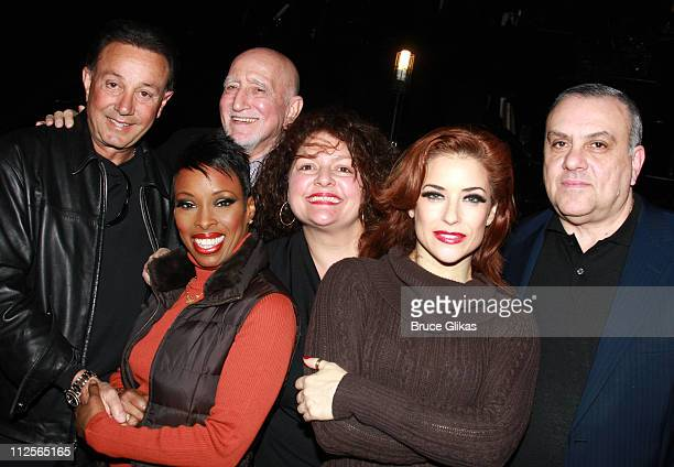 Actors Tony Darrow Brenda Braxton Dominic Chianese Aida Turturro Michelle DeJean and Vince Curatola as they visit backstage at Chicago on Broadway at...
