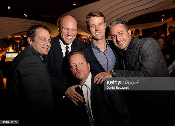 Actors Tony Ferraris, Randy Flagler, Jesse Spencer, Taylor Kinney and Christian Stolte attend a premiere party for NBC's 'Chicago Fire', 'Chicago...