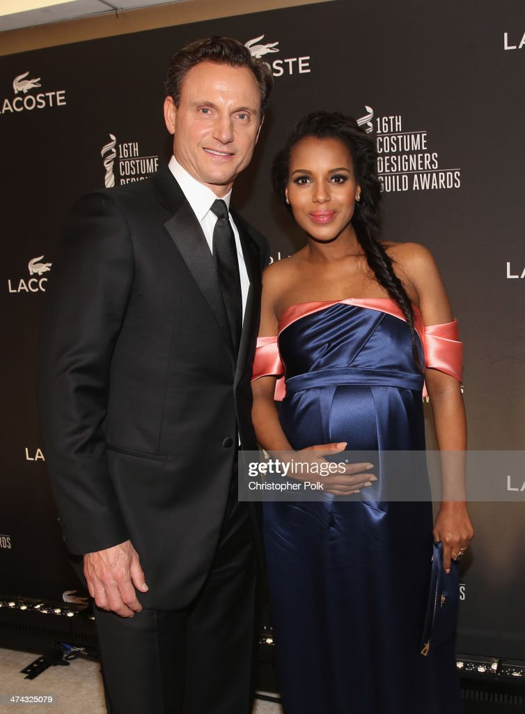 Actors Tony Goldwyn (L) and Kerry Washington attend the 16th Costume Designers Guild Awards with presenting sponsor Lacoste at The Beverly Hilton Hotel on February 22, 2014 in Beverly Hills, California.