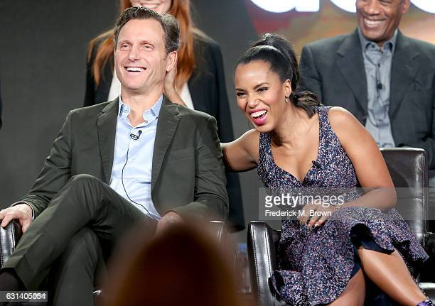 Actors Tony Goldwyn and Kerry Washington of the television show 'Scandal' speak onstage during the DisneyABC portion of the 2017 Winter Television...