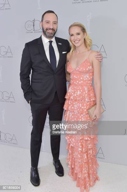 Actors Tony Hale and Anna Camp attend the Costume Designers Guild Awards at The Beverly Hilton Hotel on February 20 2018 in Beverly Hills California