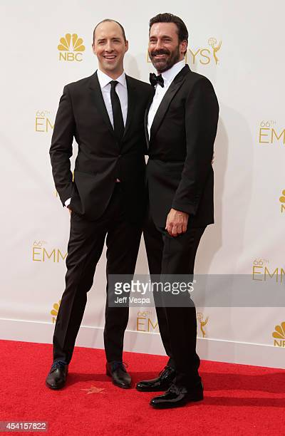 Actors Tony Hale and Jon Hamm attend the 66th Annual Primetime Emmy Awards held at Nokia Theatre LA Live on August 25 2014 in Los Angeles California