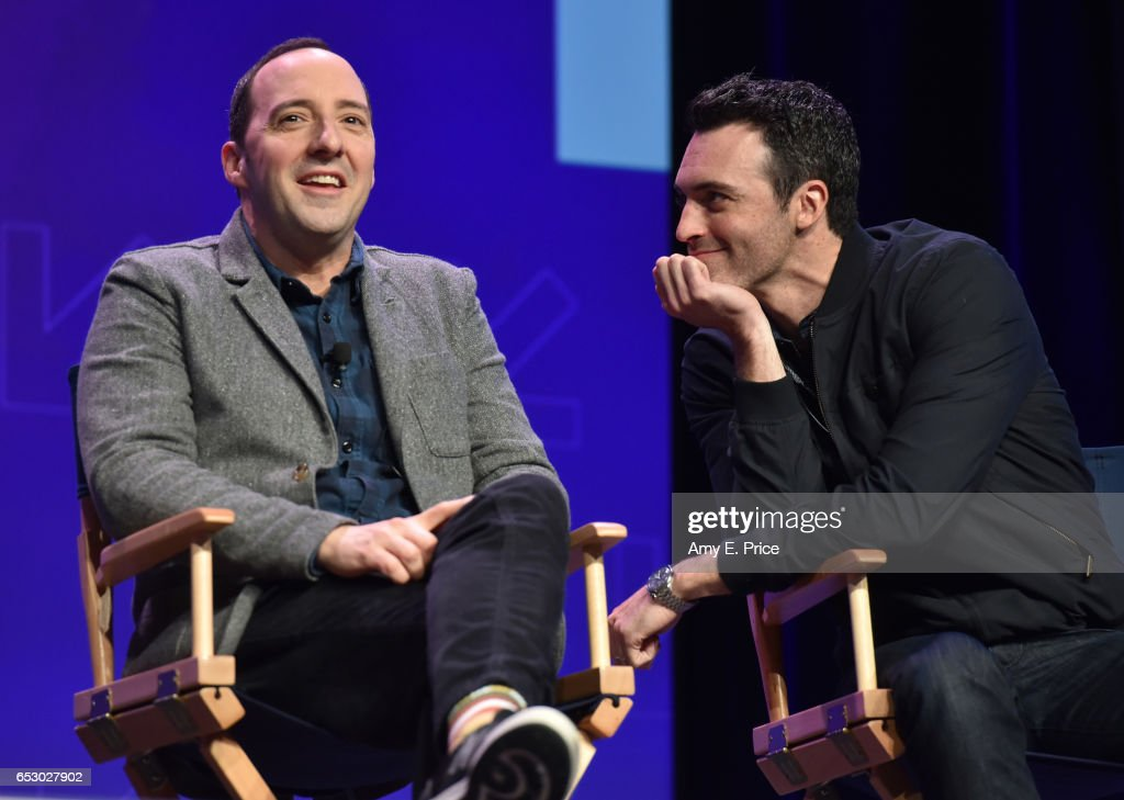 Actors Tony Hale (L) and Reid Scott speak onstage at 'Featured Session: 'VEEP' Cast' during 2017 SXSW Conference and Festivals at Austin Convention Center on March 13, 2017 in Austin, Texas.