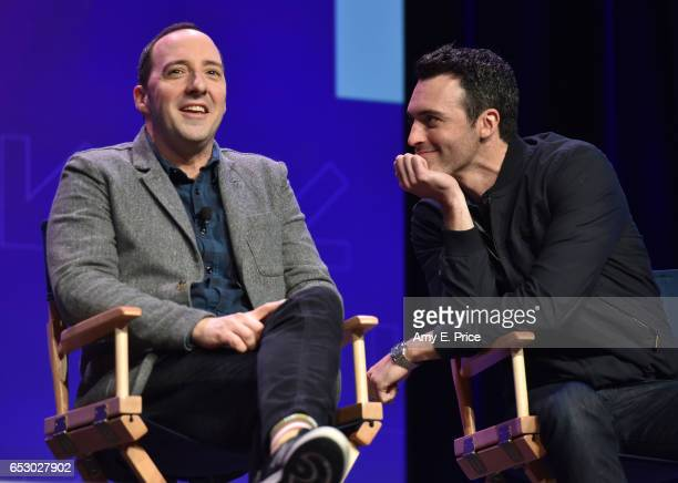 Actors Tony Hale and Reid Scott speak onstage at 'Featured Session VEEP Cast' during 2017 SXSW Conference and Festivals at Austin Convention Center...