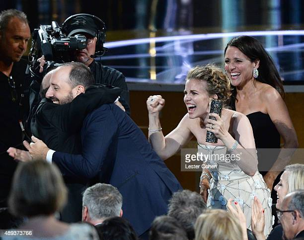 Actors Tony Hale Anna Chlumsky and Julia LouisDreyfus in the audience during the 67th Annual Primetime Emmy Awards at Microsoft Theater on September...